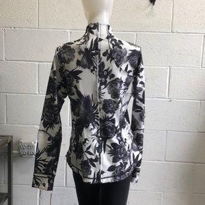 lululemon athletica Jackets & Coats - Lululemon black & white floral jacket sz 12 61967